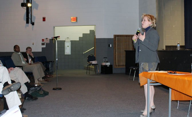Garza speaks to community members at West Springfield High School as part of her Winter 2014 listening tour.