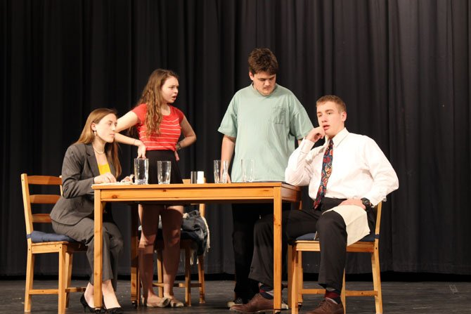 "West Springfield High School students Elizabeth Barto, Bonnie McClellan, Austin Morrison and Josh Elliot portray the Miller family in West Springfield's one-act play, ""Nerdicus (My Brother with Autism.)""  West Springfield won the VHSL 6A North Regional One-Act Championship on Feb. 8 and will compete in the state finals on March 8 in Charlottesville."