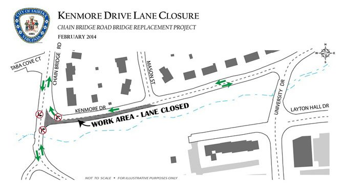 Map of the work area and turning restrictions for Kenmore Drive in Fairfax.