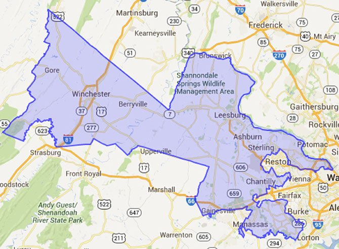 The 10th district includes all of Clarke, Frederick, Loudoun, and Warren counties and the Independent Cities of Manassas, Park, Winchester, along with portions of Fairfax, Fauquier, Prince William counties.