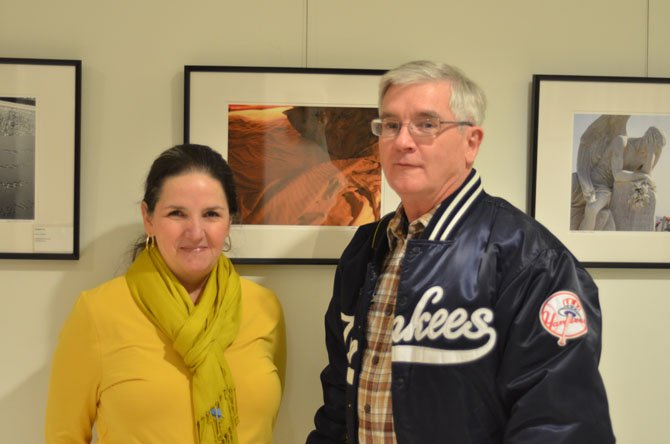 League of Reston Artists President Jim Schlett with another League of Reston Artists member at the Thursday night reception for Elizabeth Linares' photography show.