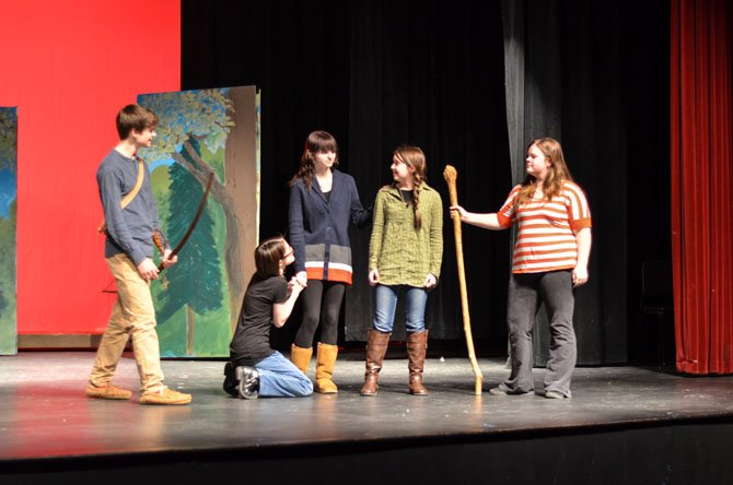 Herndon High School students Nathan Burns, Claire Smallwood, Sierra Siebold, Maren Larsen, and Anna Hughes rehearse for the February production of Robin Hood.