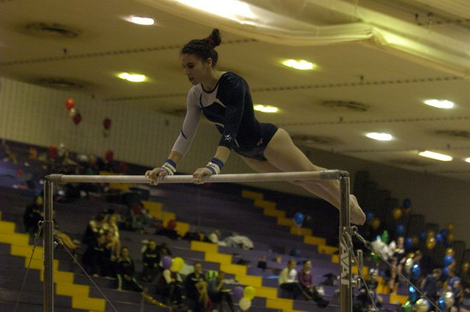 West Potomac senior Monica Thompson competed in the all-around during the 6A North region gymnastics meet on Feb. 18 at Lake Braddock.