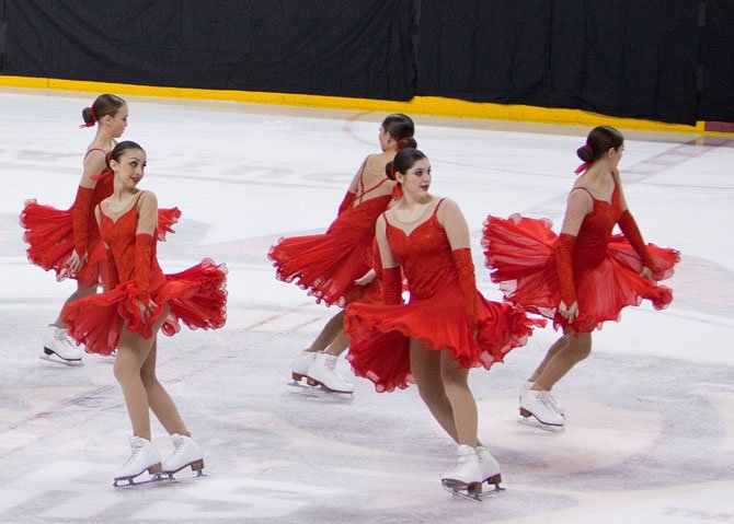 Skating in front are (from left) LaDan Nemati and Emily Dillard.