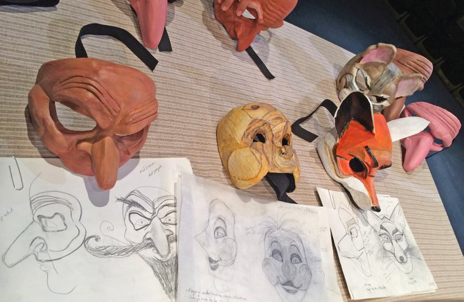 "Masks under construction for new production of ""Pinocchio."" Masks by Tara Cariaso at Waxing Moon Masks, and by Aaron Cromie."