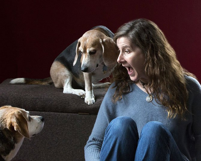 Joan Brady with her beagles Fred and Hank.