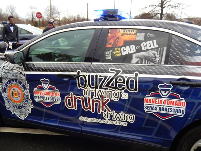 Driver's side message warns people not to drink and drive.