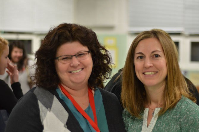 Herndon Elementary School Principal Ann Gwyn with PTA president Amanda Geary at the school cafeteria.
