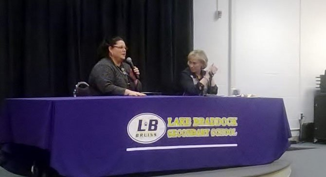 Superintendent Karen Garza (right) addresses citizens' concerns at the final stop of her listening tour.