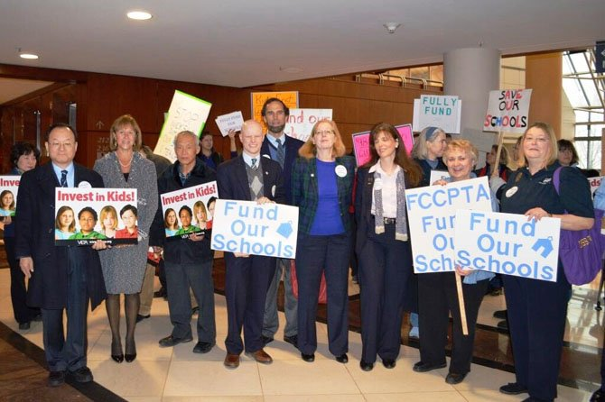 "To show support for Fairfax County schools and teachers, the Alliance for Fairfax Public Schools held a ""Fund Our Schools"" rally at the Fairfax County Government Center before Long's budget announcement."