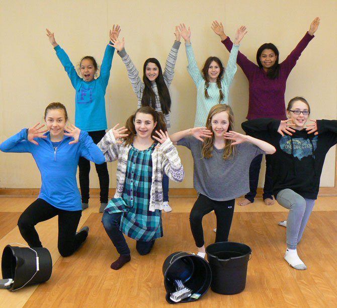 "Middle School students at The Langley School rehearse the song ""Hard Knock Life"" for their upcoming production of ""Annie."""