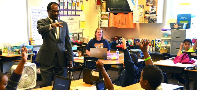 Alexandria Superintendent Alvin Crawley speaks to students at Tucker Elementary School.
