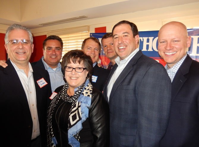 (From left) are Michael De Marco, Scott Silverthorne, Ellie Schmidt, David Meyer, Jeff Greenfield, Dan Drummond and Steven Stombres. (Neither Drummond, nor Stombres, are running for re-election).