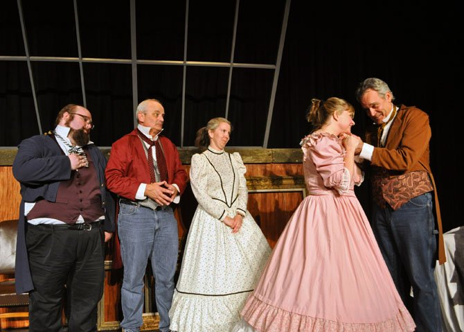 From left: Thane Tuttle (Dutchy), Craig Geoffrion (Chicago), Danine Welsh (Cecile), Liz Mykietyn (Marie) and Patrick David (Millet) in rehearsal for the Providence Players of Fairfax comedy production of Mark Twain's 'Is He Dead?'