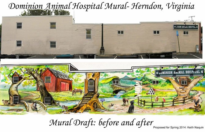 A before and after image of the wall of Dominion Animal Hospital at 795 Station Street.