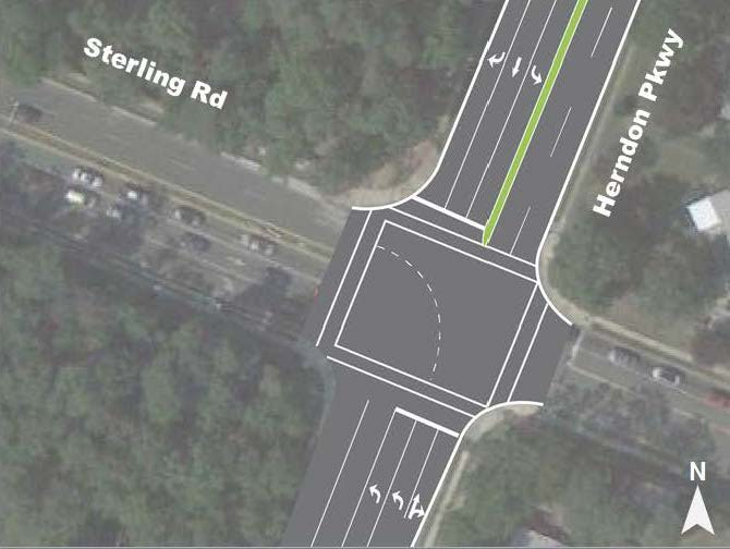 An image of Option L3, a new traffic plan reassigning turning lanes at the intersection of Herndon Parkway and Sterling Road.