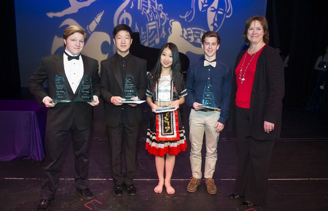 MCC Governing Board Vice Chair Susan Bourgeois (on right) with 2014 James C. Macdonald Scholarship winners Alexander Stone (Theatre and Vocal Music), Seam Lim (Instrumental Music), Xiang Yi (Dance), and Kyle Kirkpatrick (Visual Arts).