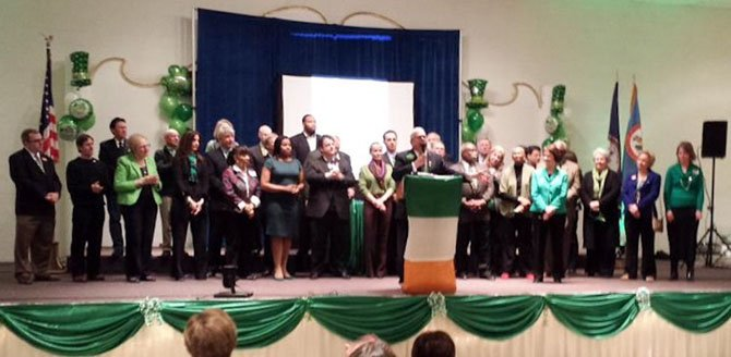 Rep. Gerry Connolly speaks at his 20th annual St. Patrick's Day Fete.