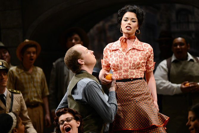 "Ginger Costa-Jackson as Carmen and Dinyar Vania as Don Jose in Virginia Opera's production of ""Carmen."""