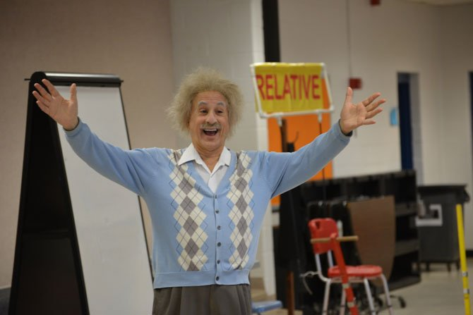 It's all Relative! Marc Spiegel brings Albert Einstein to life with his performance as the famous scientist. At the Oak Hill Elementary School assembly, he presented complex scientific material with simplicity, clarity and humor.