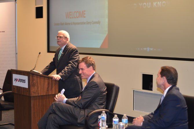 "U.S. Rep. Gerry Connolly (D-11) welcomed the staff at Harris Corp. to the Herndon location during the March grand opening ceremony. Seated are U.S. Senator Mark Warner (D-Va.) and Harris Corp. CEO William ""Bill"" Brown."