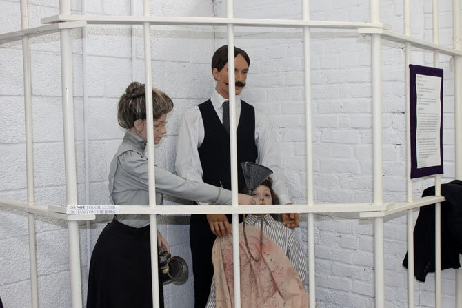 The Workhouse Prison Museum in Lorton, located on the campus of the Workhouse Arts Center, provides a glimpse into the bravery of the suffragists who were imprisoned there in 1917. In the exhibit pictured above, a suffragist is force-fed by prison guards.