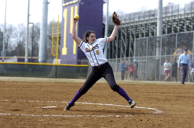Lake Braddock senior Ashley Flesch pitched a one-hitter against Bishop O'Connell on March 22.