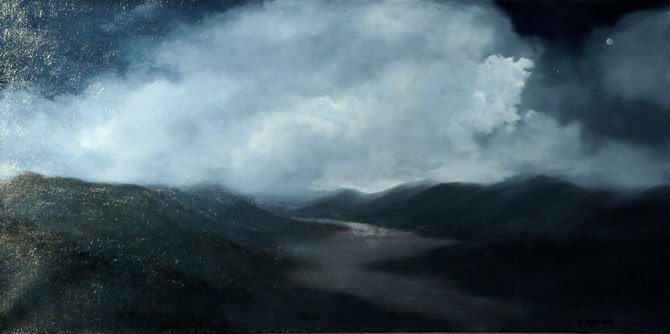 'Moonlit Valley' by Suzanne Clark, Oil on Canvas