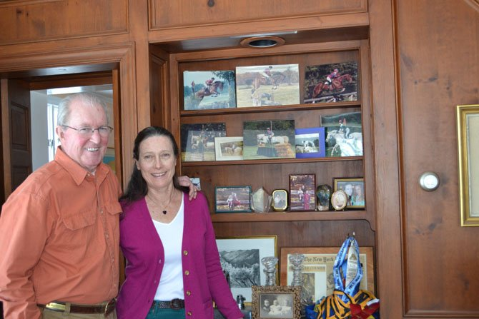 Neal Gillen, pictured with his wife Mary-Margaret, has a home office filled with awards, political memorabilia, biographies and his current work-in-progress.