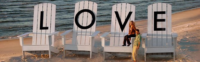 LOVE letters on oversized chairs on Virginia's Eastern Shore.