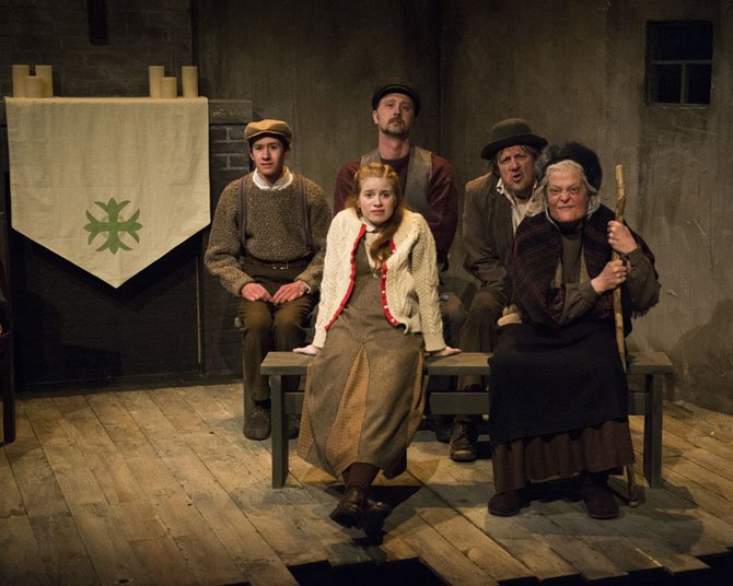"Small ensemble: (from left - front row) Megan Graves and Rebecca Lenehan, (back row) Robert Grimm, John Stange and Mark Lee Adams in ""The Cripple of Inishmaan"" at 1st Stage."
