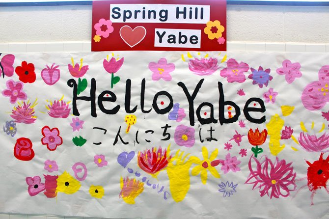 Hundreds of signs welcoming the Yabe Japanese foreign exchange students were plastered all over the school.