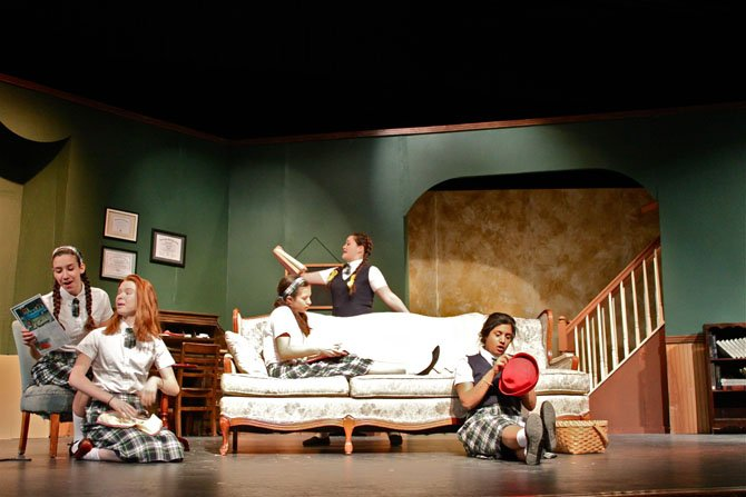 Students in Langley High School's spring production, 'The Children's Hour,' during dress rehearsal.