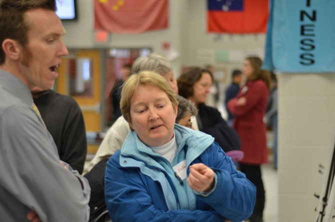 A public forum was held at Herndon Middle School in March to discuss bike and pedestrian access to Herndon's Silver Line Metro station. Iain Banks, associate with Nelson Nygaard speaks with Kelley Westenhoff.