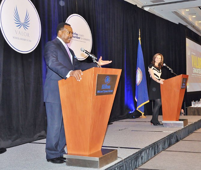 Valor Awards emcees Leon Harris and Alison Starling, evening anchors for ABC7/WJLA-TV, announced the winners.