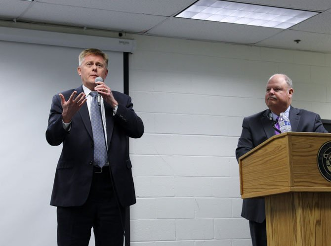 Braddock District Supervisor John Cook and County Executive Ed Long speak at a town hall meeting about the proposed FY 2015 Fairfax County budget on April 1.