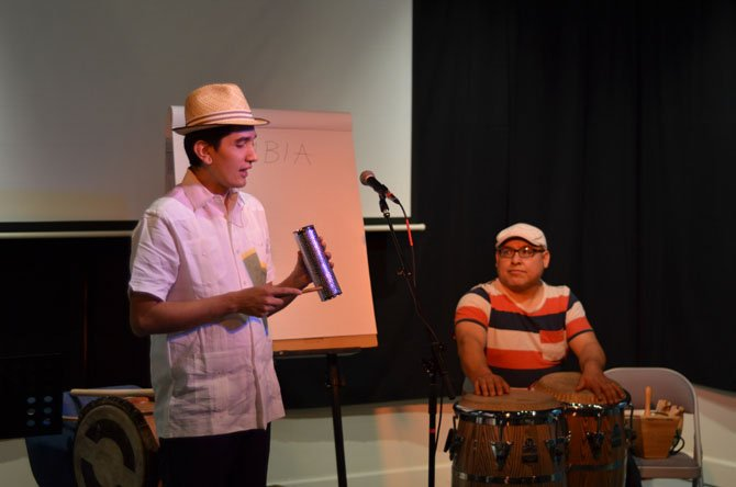 Musician Mauricio Salguero and percussionist Martín Zúñiga gave a pre-concert discussion and demonstration on Latin rhythms before a concert with the group Americas Ensemble at ArtSpace Herndon.