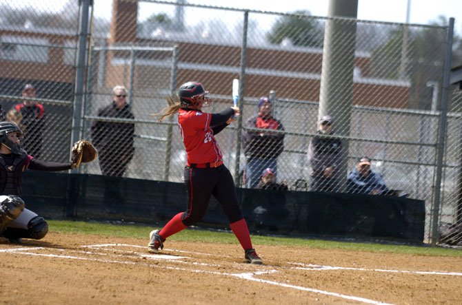 Madison sophomore catcher Julia Hoy went 4-for-5 against Oakton on April 5.