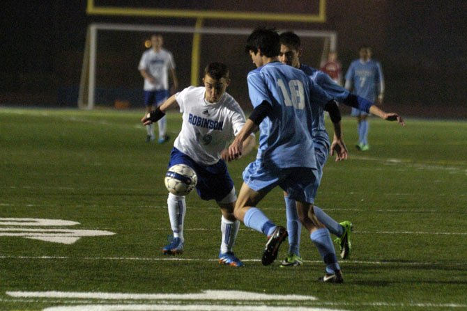 Robinson's Noah Zorzi (19) scored a goal against Yorktown on April 7.