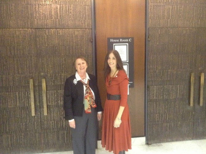 Del. Eileen Filler-Corn (D-41), right, with Tena Bluhm of Fairfax after testifying in favor of HB 550 to benefit local HOAs.