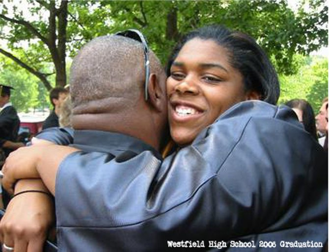 Erin Peterson hugging her dad after graduating from Westfield High in 2006.
