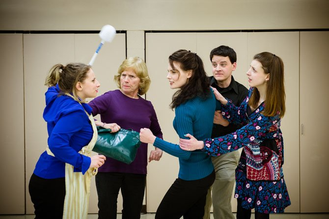 From left -- Julie the chambermaid (Rebecca Fischler) gives her opinion of the goings on to the members of the wedding party (Carole Steele, Jessica Inzeo, Will MacLeod, and Caity Brown).