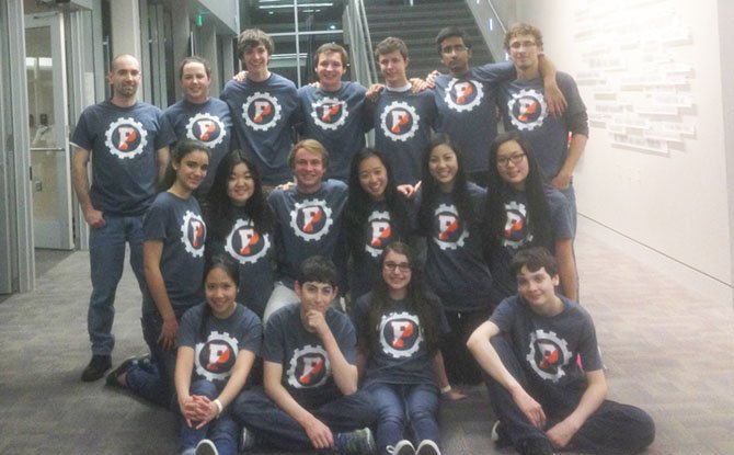 Potomac School robotics team at the U.S. Open Robotics Championship. Sidney Levingston is in the front row, third from left; Tammy Vo is in the middle row, fifth from the left.