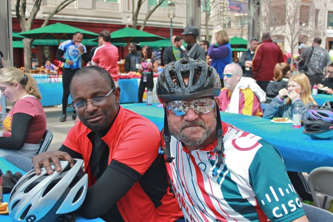 From left, Sherrod Jefferson, Chantilly, and Michael Howard, Reston, have lunch after cycling 35 miles.