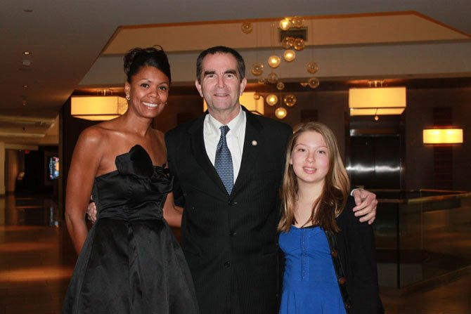 From left, Jennifer Johnson, Lieutenant Governor Ralph Northam, Sally Miller strike a pose during the gala reception.