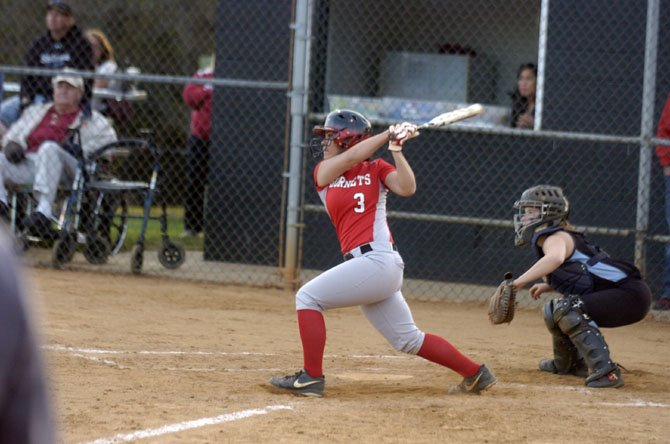 Herndon catcher Melanie Martire went 2-for-3 with a pair of doubles and two RBIs against Marshall on April 21.