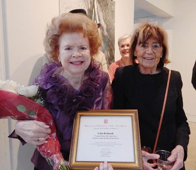 Former Fairfax County Supervisor for the Dranesville district Lilla Richards and McLean Project for the Arts founding member Nancy Bradley at the event honoring Richards for her dedication as Fairfax County Supervisor to finding a permanent home for McLean Project for the Arts. MPA Board Member Betty Thompson looks on.