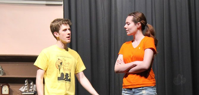"Juniors Alex Shipley and Barbara Lawson rehearse for West Springfield High School's spring musical, ""The Pajama Game."""