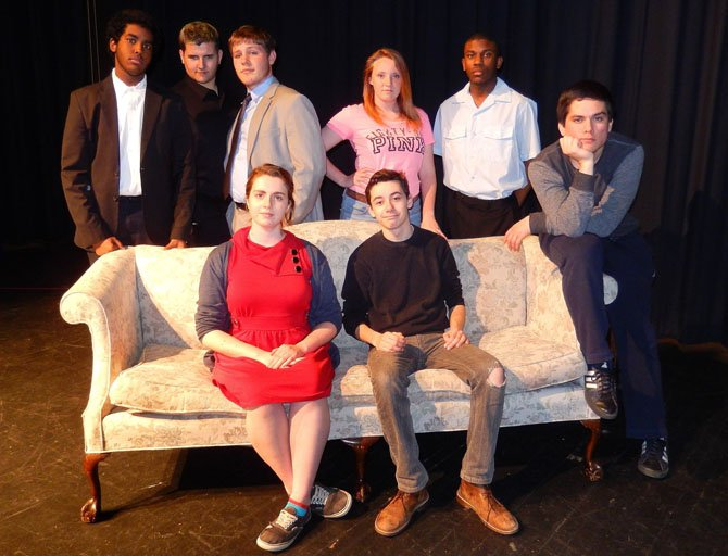 Posing in character are (standing, from left) Khalied Bashri, CJ Robinson, Austin Burch, Adrianna Hauser and Jeremy Washington and (sitting, from left) Miranda Newman, Connor Gillooly and Santiago Jauregui.