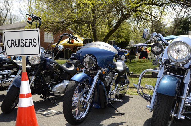 Mid-sized cruiser motorcycles were lined up to show off detailed paint schemes and chrome.